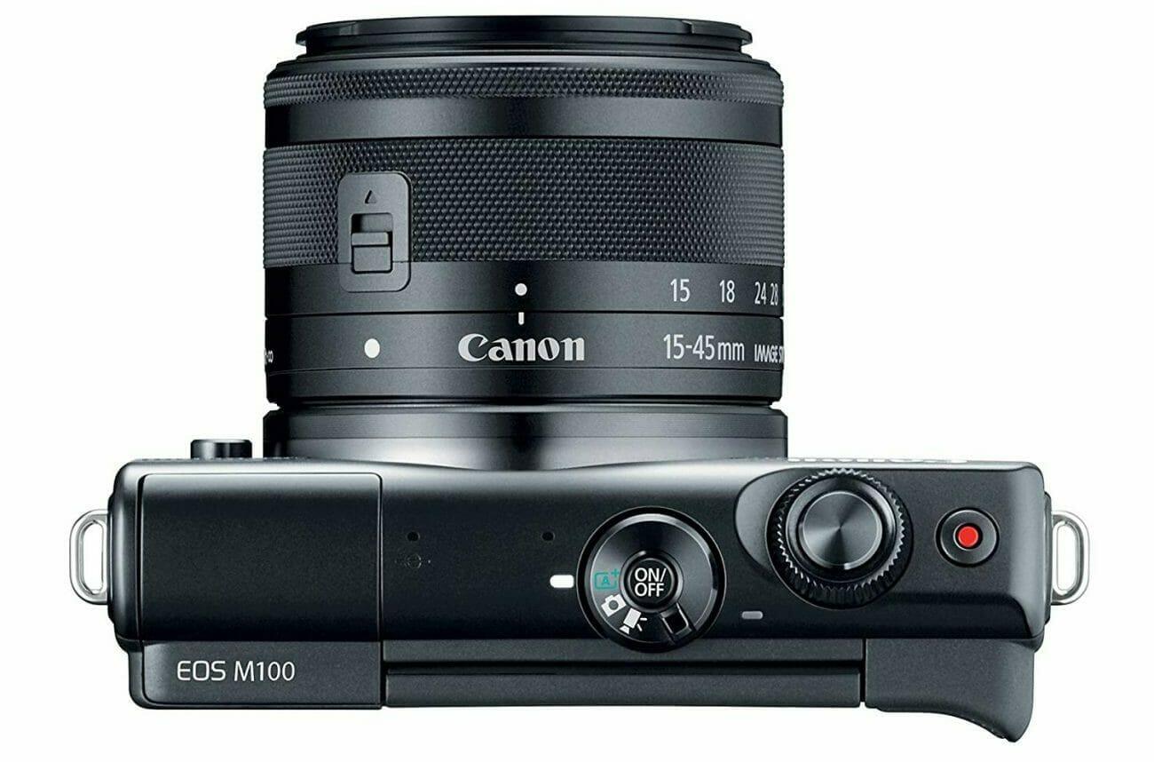 Vista de la parte superior de la Canon EOS M100