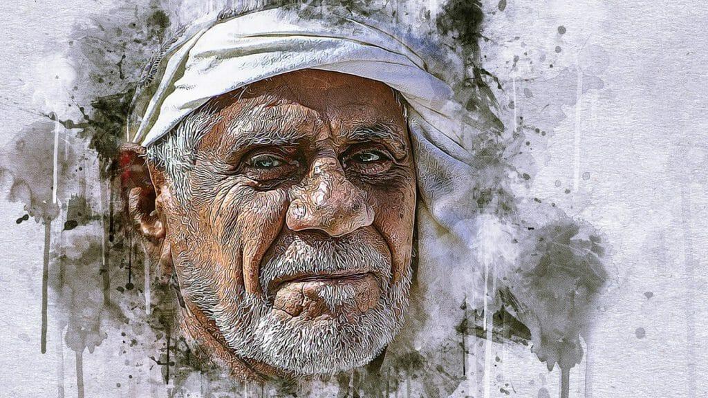 Una fotografía de un anciano que ha sido editada con filtros artísticos