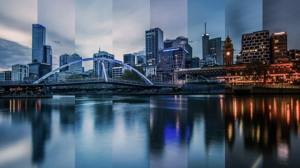 Una foto de un trozo de tiempo del paisaje urbano de Melbourne