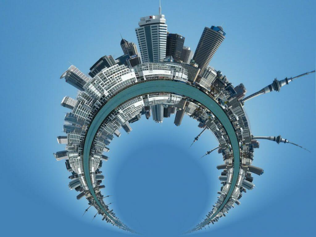 Un paisaje urbano convertido en un mini-globo panorámico
