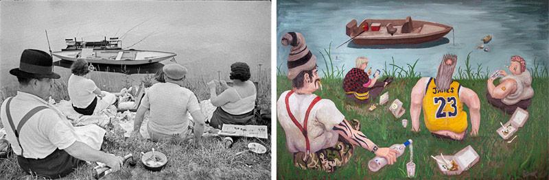 Las fotos de Henri Cartier-Bresson se reimaginan como pinturas satíricas