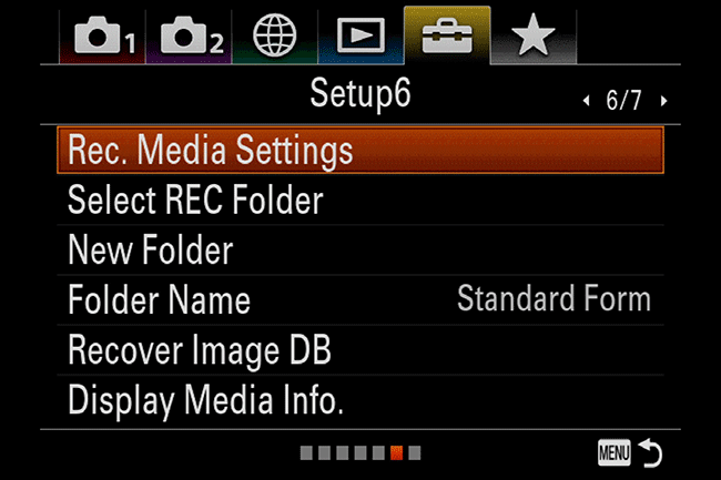 Ajustes del menú del Sony A7R III