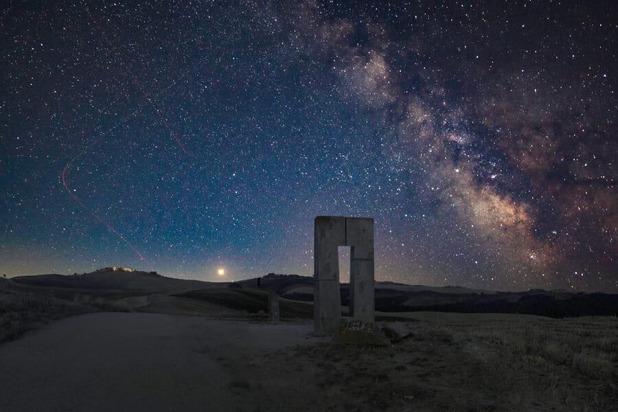 A night sky landscape shot of the Milky Way