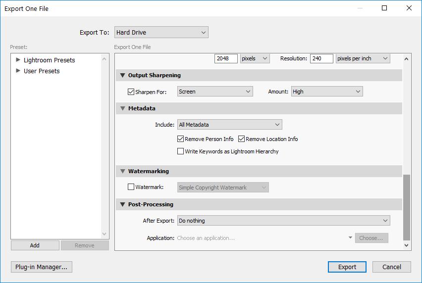 Lightroom Export Metadata EXIF