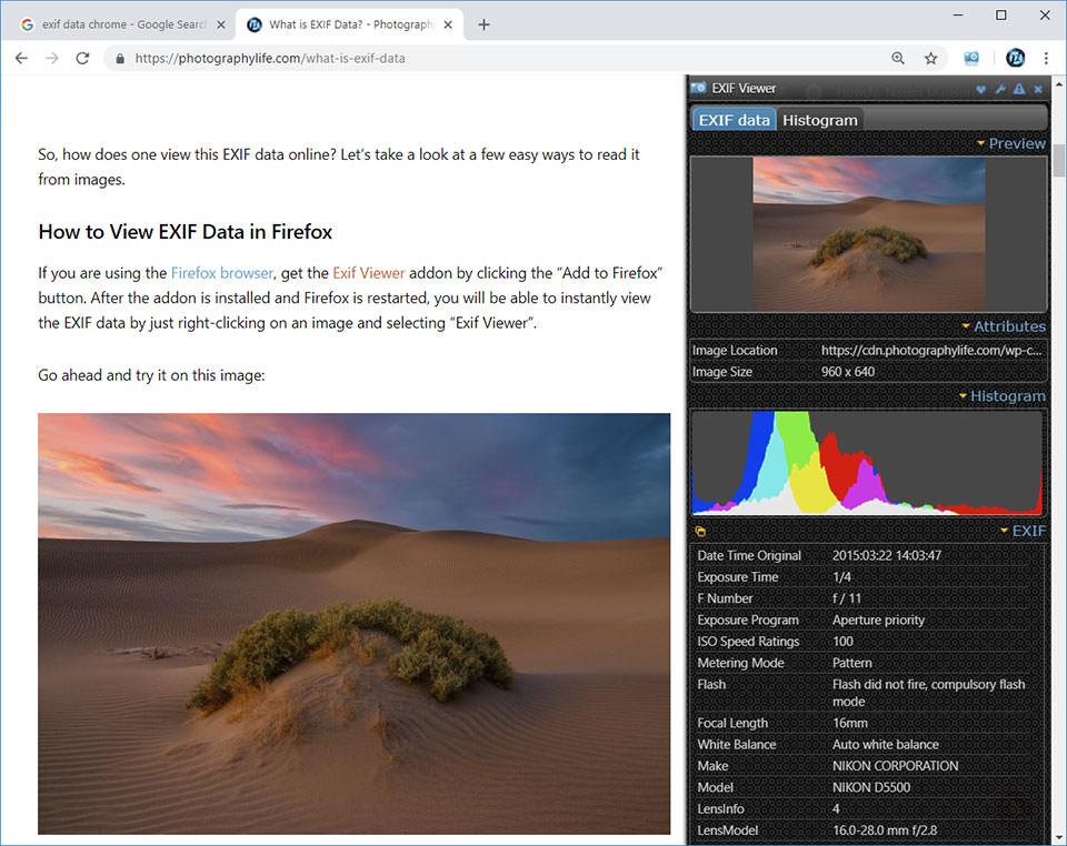 Chrome EXIF Quick View